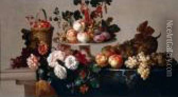 A Still Life Of Peaches, Plums, 
