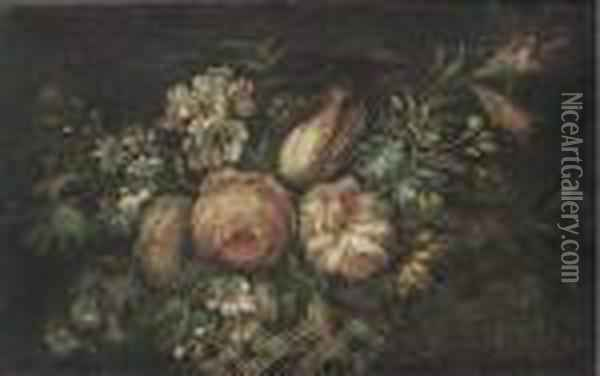 Roses, Tulips, Morning Glory And Other Flowers In A Basket Oil Painting - Jean-Baptiste Monnoyer