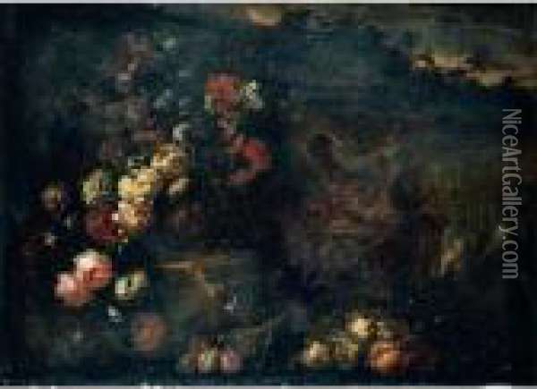 Still Life Of Flowers In A  Sculpted Vase, Together With A Large Gilt Ewer, Carved Stone Reliefs And  Fruit, Set Within A Landscape Oil Painting - Jean-Baptiste Monnoyer