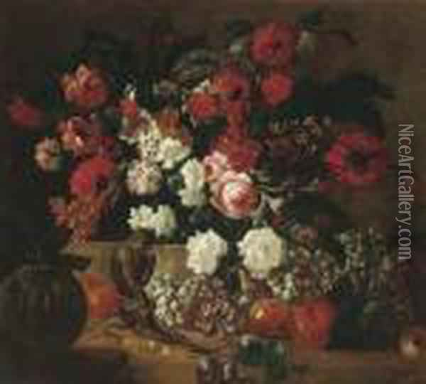 Poppies, Carnations, Roses,  Tulips And Other Flowers In A Basket Ona Ledge With Grapes, Pears,  Peaches, Plums And A Melon On A Forestfloor With A Monkey And A Parrot Oil Painting - Jean-Baptiste Monnoyer