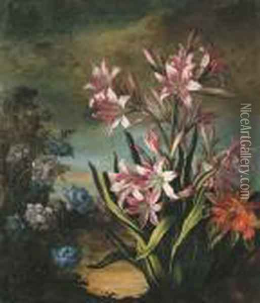 A Flower Bed With A Blue Chrysanthemum And Lilies Oil Painting - Jean-Baptiste Monnoyer
