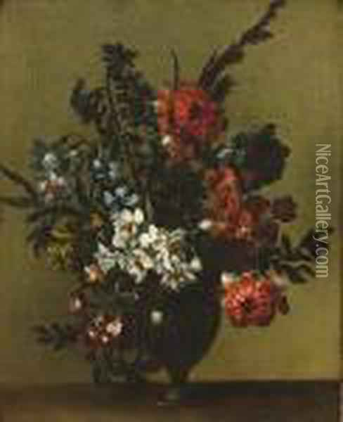 Chrysanthemums, Narcissi, Pansies And Other Flowers In A Glass Vase On A Ledge Oil Painting - Jean-Baptiste Monnoyer