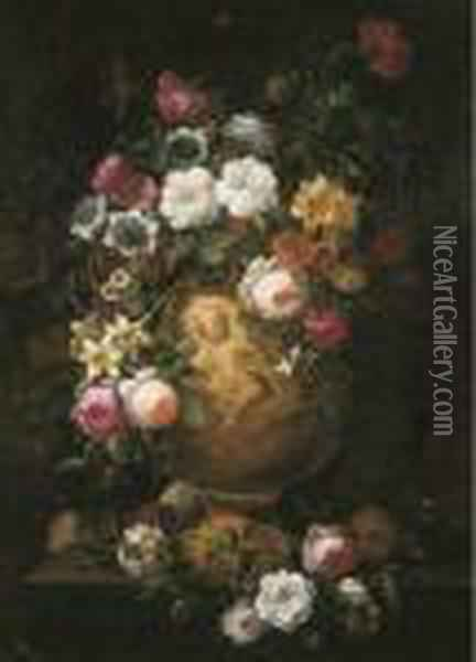 Roses, Poppies And Other Flowers In A Sculpted Vase On Apedestal Oil Painting - Jean-Baptiste Monnoyer