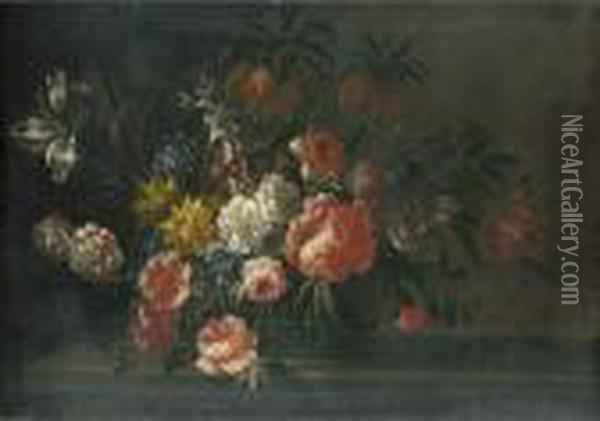 Roses, Carnations, Tulips And Other Flowers In A Basket On A Stone Ledge Oil Painting - Jean-Baptiste Monnoyer