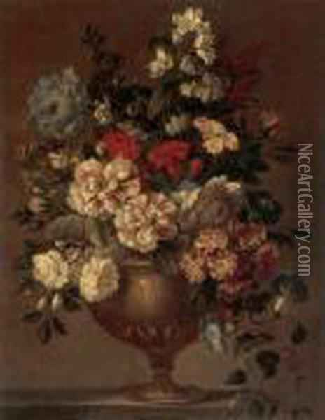 Still Life Of Zinnias,  Carnations, Morning Glories And Other Flowers In A Bronze Vase Resting  On A Ledge Oil Painting - Jean-Baptiste Monnoyer