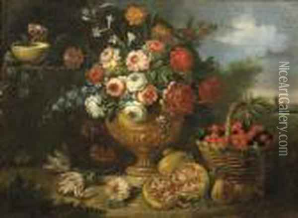 Mixed Flowers In A Vase With  Cherries In A Basket, A Pomegranate And Flowers In A Landscape- An  Overdoor Oil Painting - Jean-Baptiste Monnoyer