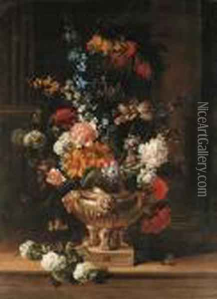 Parrot Tulips, Chrysanthemum,  Hydrangea, Honeysuckle, Borage,paeonies, Crown Imperial Fritillaries And  Other Flowers In Asculpted Urn On A Ledge, A Column Beyond; And A  Canterbury Bell,parrot Tulips, Lilac, Ivy Sprays, A Paeony And Other  Flowers I Oil Painting - Jean-Baptiste Monnoyer