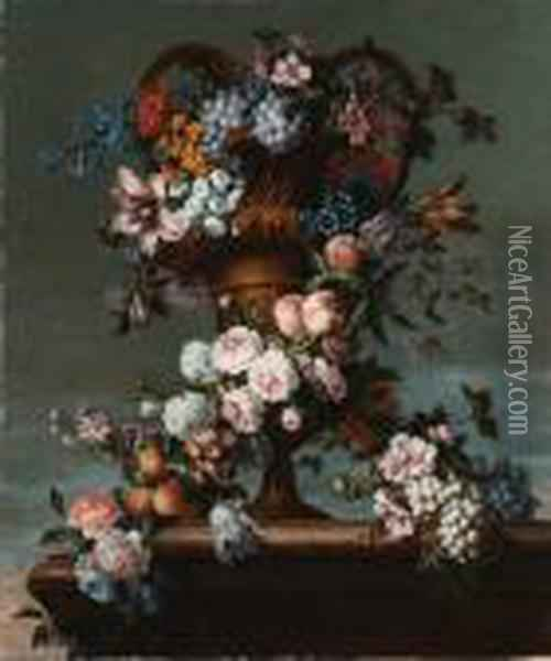 Grapes, Peaches, Plums, Roses,  Hyacinth, Hydrangea And Otherflowers Entwined Around A Bronze Vase Oil Painting - Jean-Baptiste Monnoyer