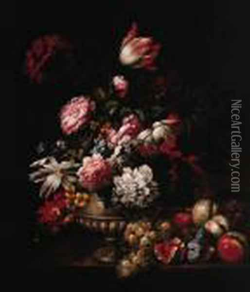 Tulips, Roses, Poppies And Other Flowers In A Vase With Fruit On Aledge Oil Painting - Jean-Baptiste Monnoyer