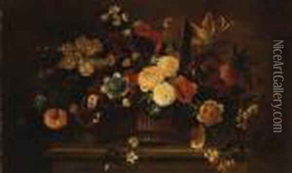 Roses, Tulips, Carnations, Morning Glory And Other Flowers In Abasket On A Ledge Oil Painting - Jean-Baptiste Monnoyer