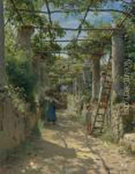 In The Shadow Of An Italian Pergola Oil Painting - Peder Mork Monsted