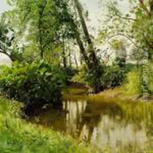View Of S by Stream Oil Painting - Peder Mork Monsted