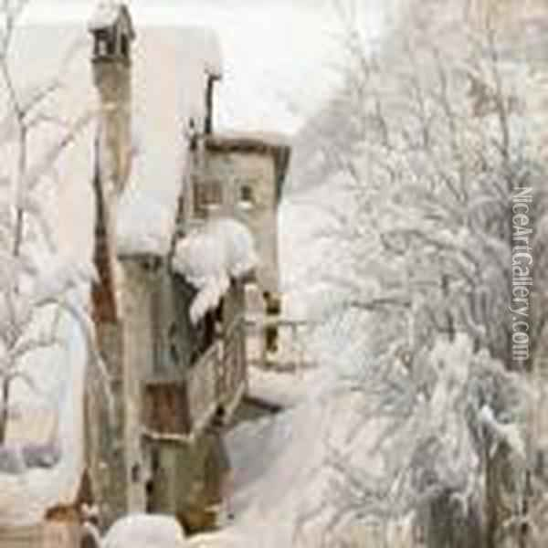 Village Covered In Snow, Switzerland Oil Painting - Peder Mork Monsted