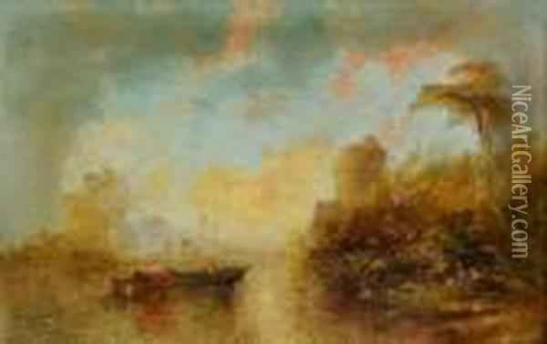 Lakelandscape With Barge Before A Castle Ruin Oil Painting - Alfred Montague