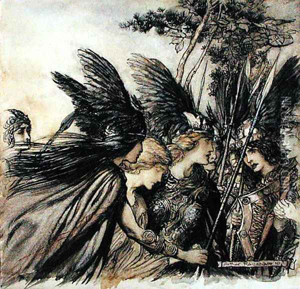 Brunnhilde Implores the Valkyries, illustration from The Rhinegold and the Valkyrie, by Richard Wagner, edition published 1910 Oil Painting - Arthur Rackham