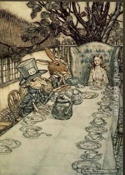 The Mad Hatters Tea Party, illustration to Alices Adventures in Wonderland by Lewis Carroll 1832-98, 1907 Oil Painting - Arthur Rackham