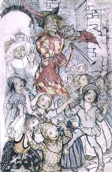 The Pied Piper of Hamelin, illustration for the poem by Robert Browning 1812-89 pub. 1934 Oil Painting - Arthur Rackham