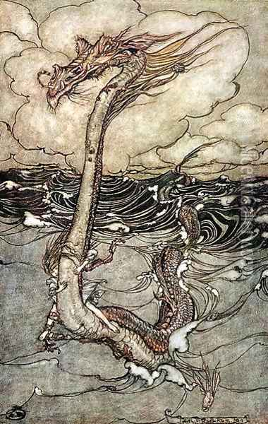 A Young Girl Riding a Sea Serpent, 1904 Oil Painting - Arthur Rackham
