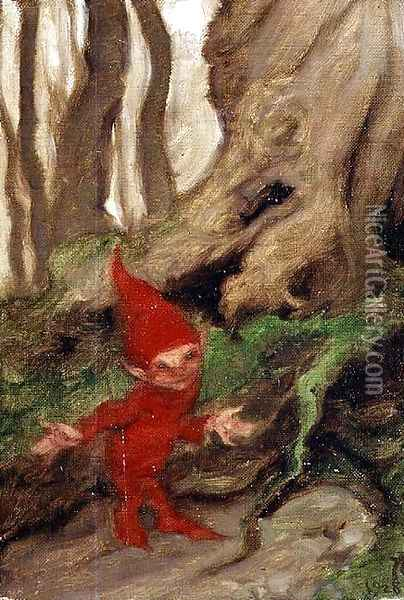 A Gnome by Tree Roots, 1928 Oil Painting - Arthur Rackham