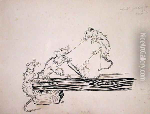 Rats...ate the cheese out of the vats, illustration from The Pied Piper of Hamelin, version by Robert Browning, published 1934 Oil Painting - Arthur Rackham