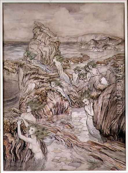 Aly, illustration from The Three Golden Apples a Wonder Book by Nathaniel Hawthorne, pub. by Hodder and Stoughton Oil Painting - Arthur Rackham