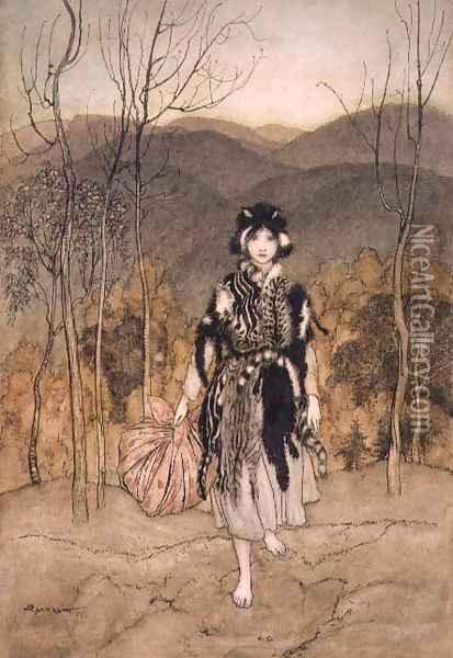 She Went Along, and Went Along, and Went Along Catskin, illustration from English Fairy Tales, retold by F.A Steel, 1918 Oil Painting - Arthur Rackham