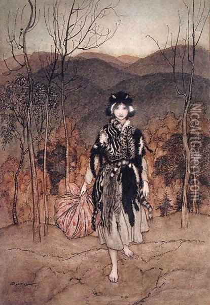 She went along, and went along, and went along dressed in catskin', illustration from English Fairy Tales retold by F.A. Steel, published 1918 Oil Painting - Arthur Rackham