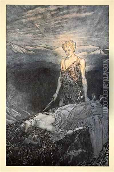 Magical rapture pierces my heart; fixed is my gaze, burning with terror, I reel, my heart faints and fail!', illustration from Siegfried and the Twilight of the Gods, 1924 Oil Painting - Arthur Rackham