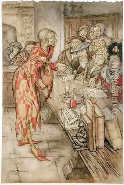 In did come the strangest figure, illustration from The Pied Piper of Hamelin, by Robert Browning Oil Painting - Arthur Rackham