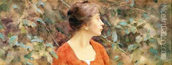 Lady In Red Oil Painting - Theodore Robinson