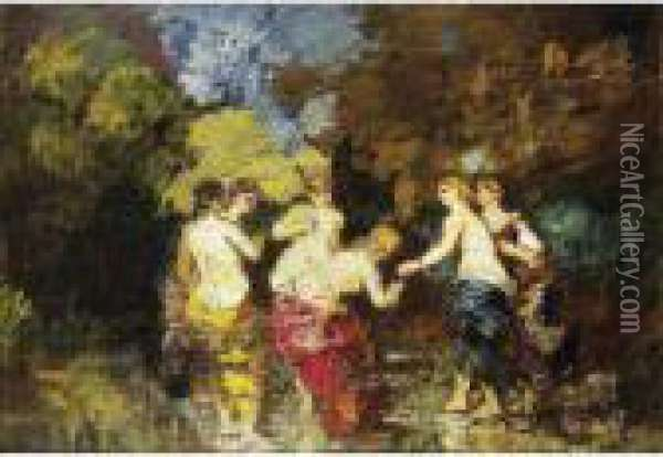 Six Baigneuses Oil Painting - Adolphe Joseph Th. Monticelli