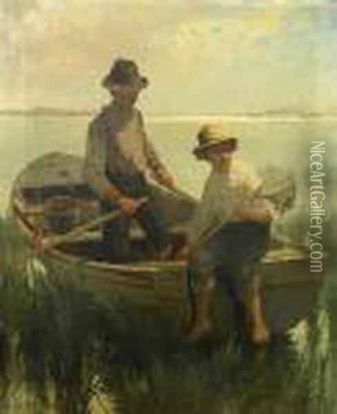 Boys Out Fishing Oil Painting - Edward Moran