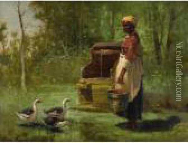 Well And Ducks Oil Painting - Edward Moran