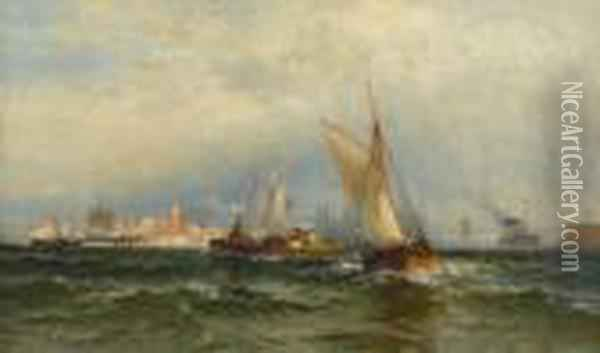 Steamships And Sailing Boats Oil Painting - Edward Moran