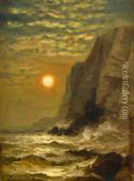 Sunset By The Cliffs Oil Painting - Edward Moran