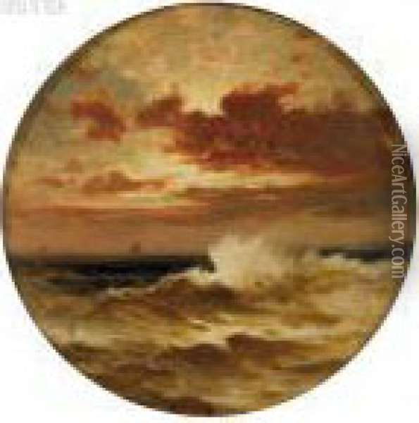 Seascape With Distant Boats Oil Painting - Edward Moran