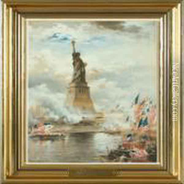 The Statue Of Liberty Oil Painting - Edward Moran