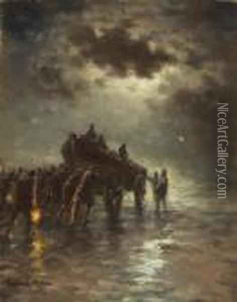 ''launching The Lifeboat'' Oil Painting - Edward Moran