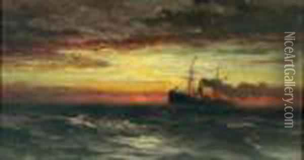 On The High Sea Oil Painting - Edward Moran