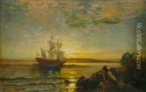 Arrival To The New World Oil Painting - Edward Moran