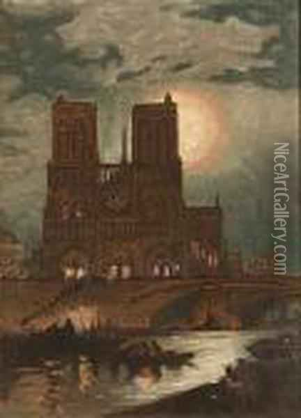 Notre Dame Cathedral Oil Painting - Edward Moran