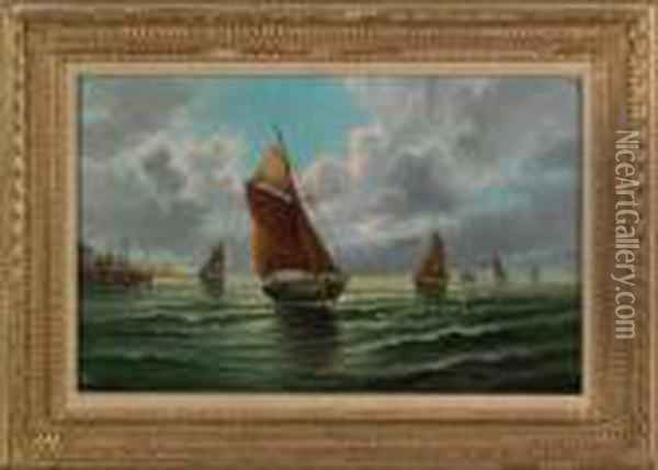 Scene With Ships Oil Painting - Edward Moran