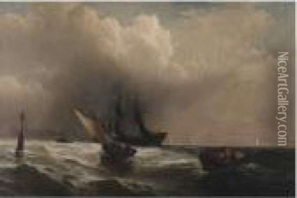 Preparing For A Storm Oil Painting - Edward Moran