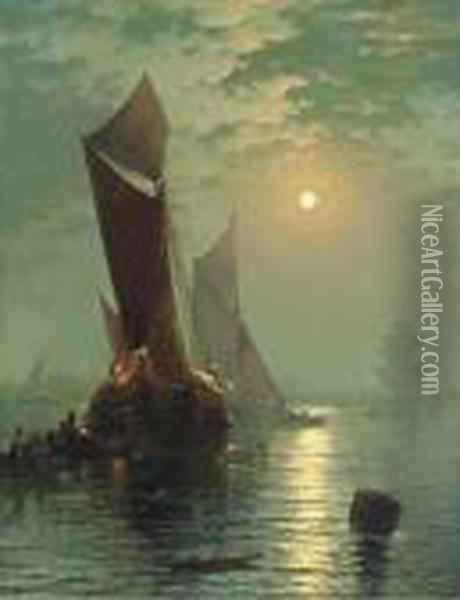 Moonlight On The Thames With A View Of St. Paul's In Thedistance Oil Painting - Edward Moran