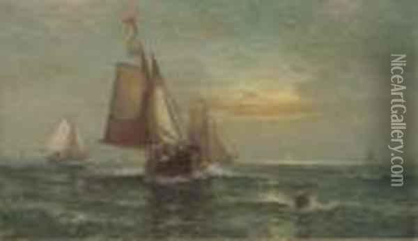 Fishing Boats At Dusk Oil Painting - Edward Moran