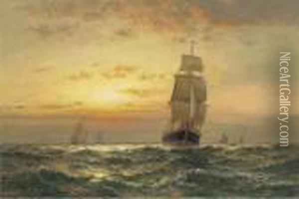 Shipping At Sunset Oil Painting - Edward Moran