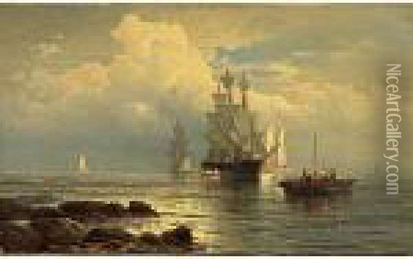 Approaching Storm At Sea Oil Painting - Edward Moran