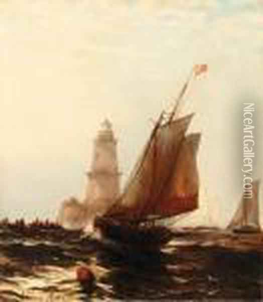 Fishing Boats By Robbins Reef Lighthouse Oil Painting - Edward Moran
