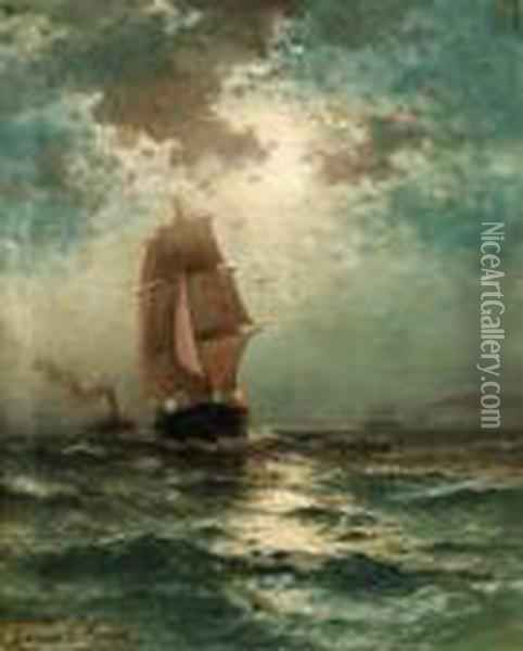 Square-rigged Shipping Vessel Sailing By Moonlight