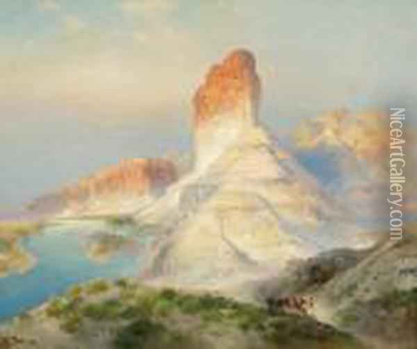Indian Summer, Green River, Wy Oil Painting - Thomas Moran